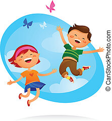 gyerekek, ugrás, boldog