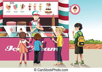 gyerekek, vásárlás, fagylalt