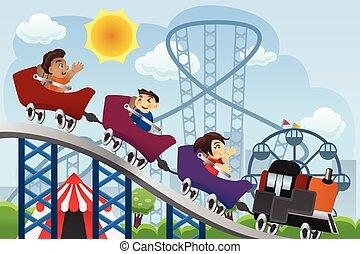 gyerekek, vidámpark, játék