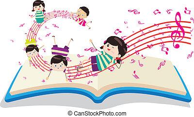 gyerekek, zene beír, boldog