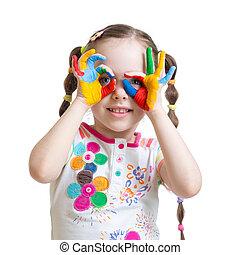 gyermek, öreg, festett, fest, kézbesít, négy, szín, év, leány