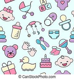 gyermek, újszülött, gyerekek, kocsi, lakás, apró, szín, cumisüveg, csinos, style., motívum, pelenka, ikonok, öltözék, vektor, illustration., táplálás