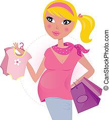 gyermek, anyu, terhes, bevásárlás