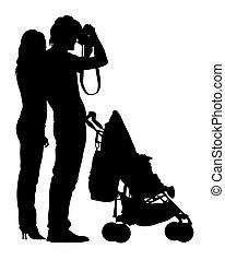 gyermek, család jár, egy