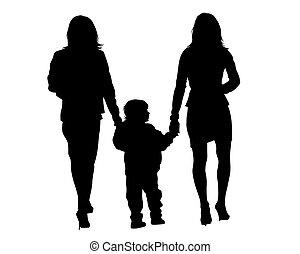 gyermek, család jár, két