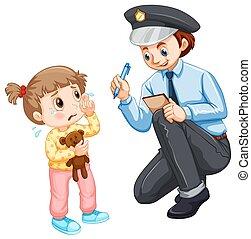 gyermek, elveszett, feljegyzés, rendőrség