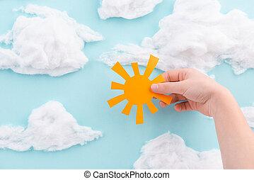 gyermek, gyapjú, narancs, kivágott, hatalom papír, gyapot, nap, ég blue, elhomályosul