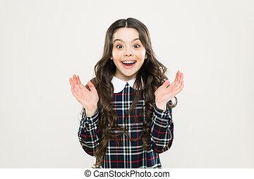 gyermek, hosszú, diáklány, igazságos, portrait., mosolygós, happy., göndör, érzelmi, dress., uniform., expression., leány, hair., ízléses, boldog, kölyök, kicsi, elegáns, news., fogalom, tarka, gyermekkor, érzelmek, bámulatos