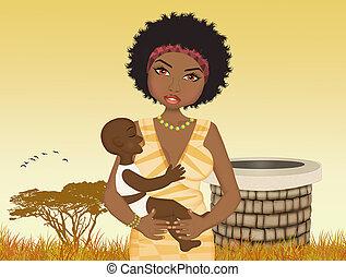 gyermek, nő, forrás, afrikai