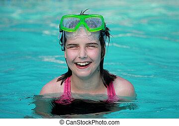 gyermek, pocsolya, úszás