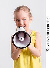 gyermek, sikít, hangszóró