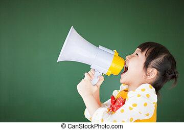 gyermek, tábla, boldog, hangszóró, használ