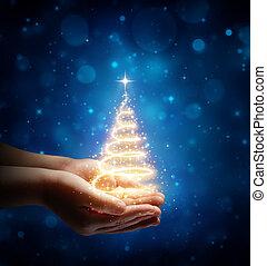 gyermek, varázslatos, karácsony, kéz