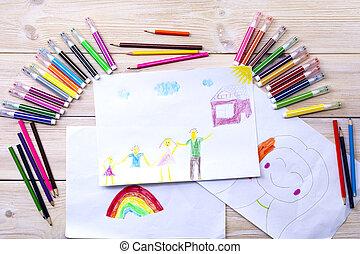 gyermek, volt, drew, születésnap, gyermekek, kártya, boldog, rajz, pencils., bábu, elkészített, övé, family., használ, színezett