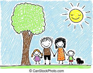 gyermekek, család, rajz