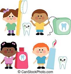 gyermekek, fogászati, vektor, higiénia, gyűjtés