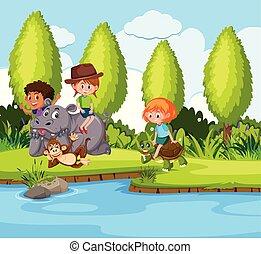 gyermekek játék, állat, természet