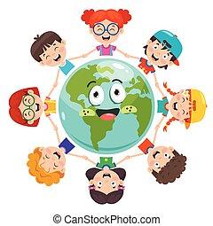 gyermekek játék, csoport, földdel feltölt