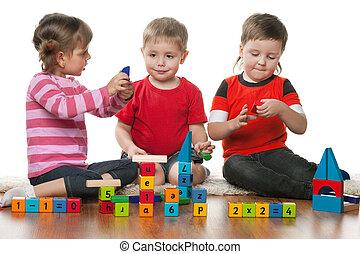gyermekek játék, együtt, emelet