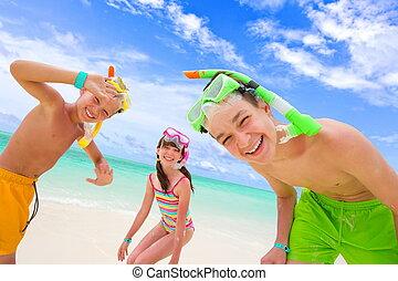 gyermekek játék, tengerpart