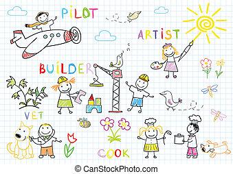gyermekek, munka kifáraszt, boldog