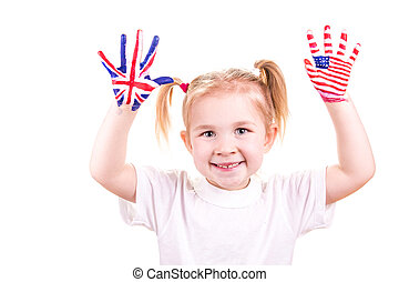 gyermekek, zászlók, amerikai, hands., angol