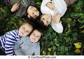 gyermekkor, boldogság, természet