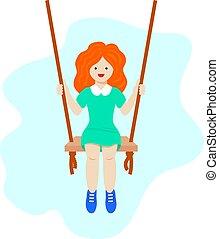 gyermekkor, csinos, swinging., boldog, vektor, gyermekkor, kevés, design., leány, fogalom, illustration., modern, aktivál, gyermek, recreation.