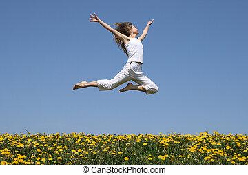 gyermekláncfű, felett, repülés, ugrás, mező, leány