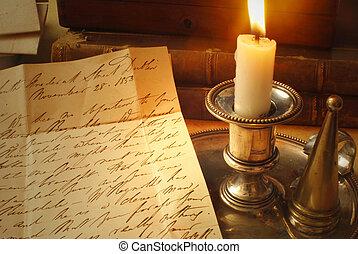 gyertya, öreg levél