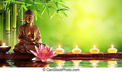 gyertya, buddha, természetes, szobor, háttér