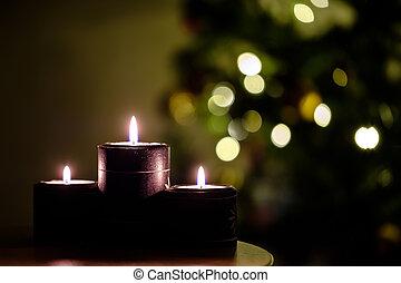 gyertya, fa, karácsony, háttér, állati tüdő