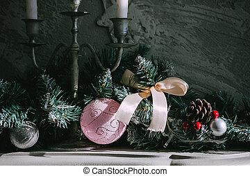 gyertya, fehér, három, karácsony