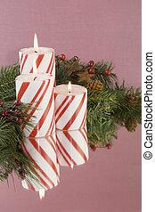 gyertya, három, háttér, csíkos, lágy, karácsony