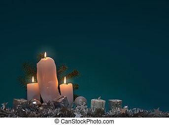 gyertya, háttér, karácsony, három, fehér, advent.