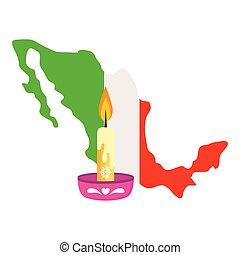 gyertya, háttér, lobogó, mexikó, fehér, térkép