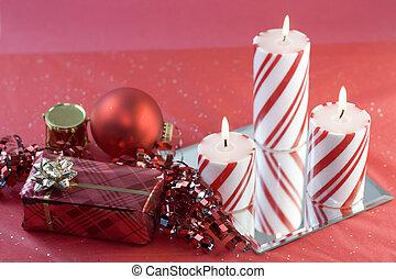 gyertya, piros, három, dekoráció, karácsony