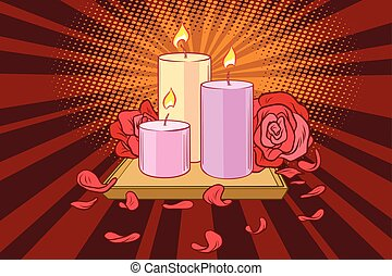 gyertya, rózsa, romantikus, szirom