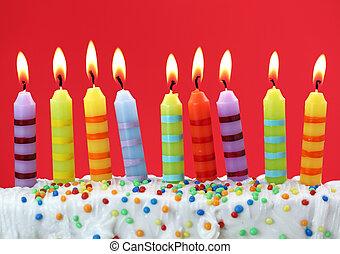 gyertya, születésnap, kilenc