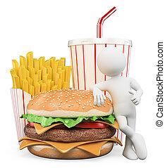 gyorsan, emberek., fehér, táplálék., daróc, hamburger, 3, ital