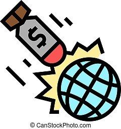háború, szegénység, ikon, probléma, szín, vektor, ábra