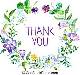 hálát ad, bouquet., ábra, vízfestmény, vektor, virágos, ön, kártya