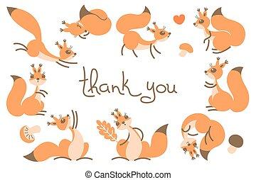 hálát ad, kártya, csinos, squirrels., ön