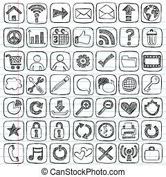 háló, állhatatos, ikonok, szórakozottan firkálgat, sketchy, cégtábla