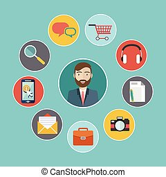 háló, állhatatos, ikonok, tervezés, user interface