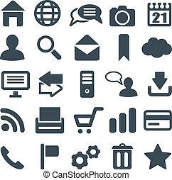 háló, általános, állhatatos, mobile., ikonok