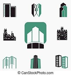 háló, épületek, vektor, állhatatos, ikonok