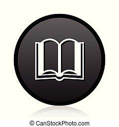 háló, cégtábla., jelkép., library előjegyez, vektor, fekete, tanul, icon., kerek