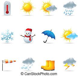 háló, időjárás, -, ikonok