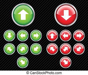 háló, irány, állhatatos, víz, szerkeszt, bármilyen, gombok, vektor, könnyen, arrows., size., 2.0, style.